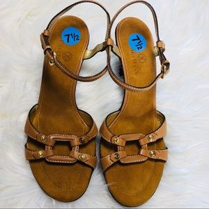 Cole Haan Brown Open Toe Leather Strappy Sandals